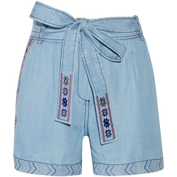 CAMILLA  Belted embroidered chambray shorts ($160) ❤ liked on Polyvore featuring shorts, tie waist shorts, multi colored shorts, colorful shorts, embroidered shorts and light blue shorts