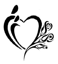 Parent heart tattoo with flowers for each child