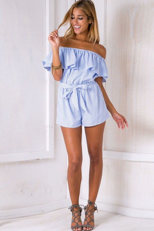 a8f9b2c55024 Light Blue Off Shoulder Stripe Pattern Chic Romper  032619   Sexy Rompers  And Jumpsuits For Women-Strapless Jumpsuit