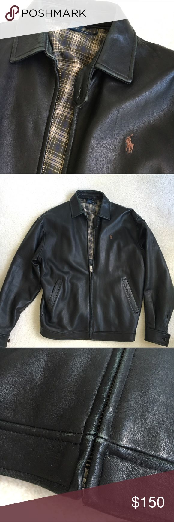 Ralph Lauren Leather jacket Black leather jacket with tan and black plaid lining and brown polo horse logo. Some wear on sleeves, collar, and bottom front zipper but it looks as if it is supposed to be weathered and natural. Please see pictures. It's in great condition. Ralph Lauren Jackets & Coats Bomber & Varsity