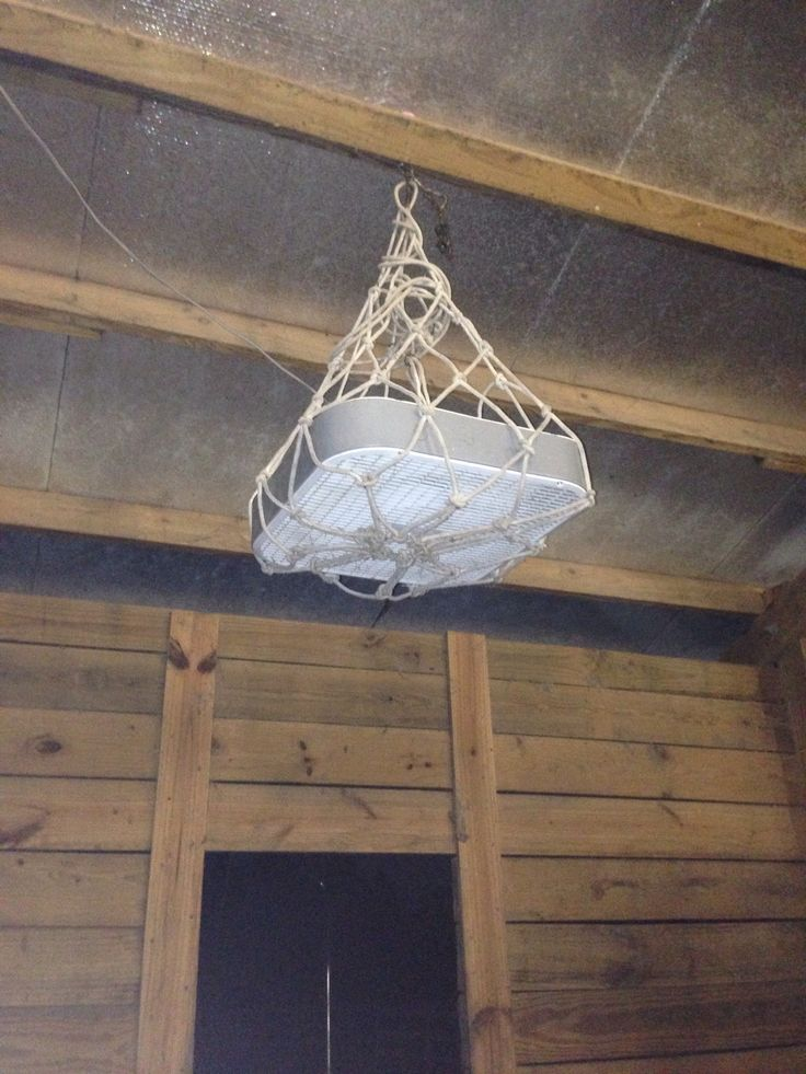 Horse Stall Ventilation : Hay net box fan hanging for stall i made
