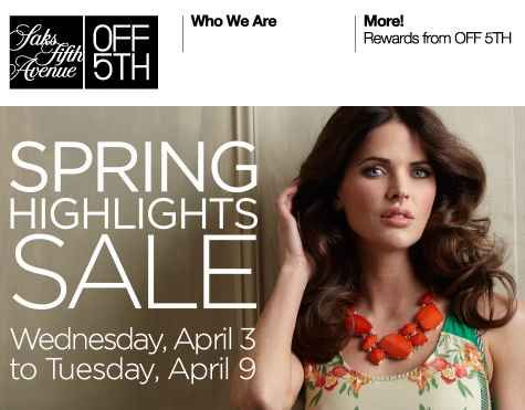 HOT! Saks Off Fifth Avenue Coupon | Get 40 off for 20