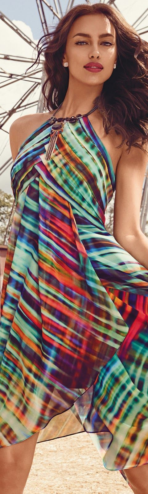 I have never worn a halter style dress but love these colors and print- hem line is fun and adds interest. -JJ