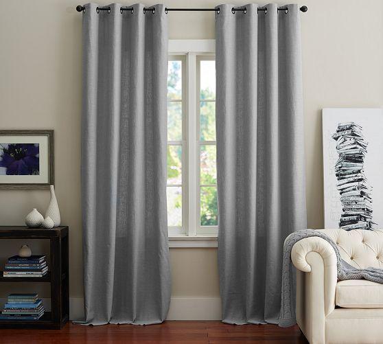 Cotton Canvas Black Eyelet Lined Curtain: Emery Linen Grommet Drape, 50 X 63