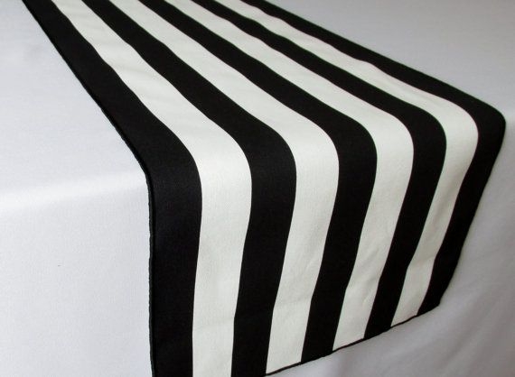 ***** Table setting and photography by my wonderful client Janet Nash **** Beautiful, elegant white and black stripe table runner width approx. 13,