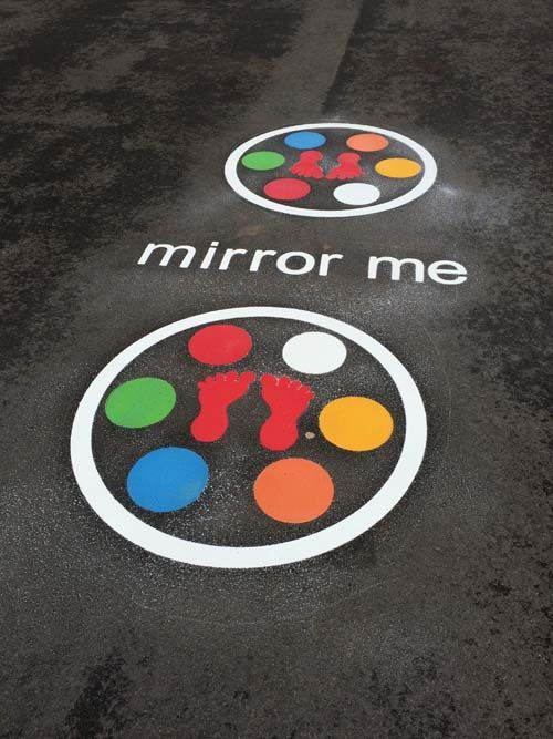 This playground marking is a fun way to develop coordination and active play within your playground. The Mirror me Game consists of two large circles, 8 x 200mm multi coloured thermoplastic circles with 2 x footprints in the centre.