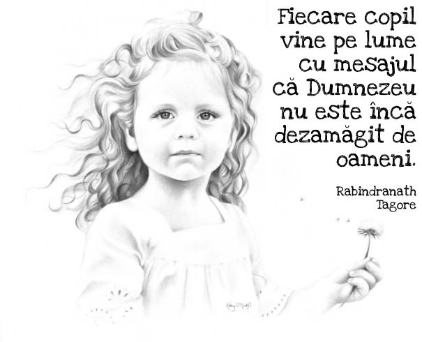 #citat #ilustratie #girl #children #illustration #quote #tagore #dumnezeu #god #portrait #dandelion