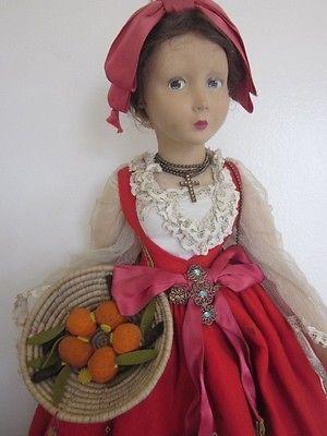 Rare Antique Lenci Boudoir Bed Doll Series 165 PIANA DEI GRECI Sicilia
