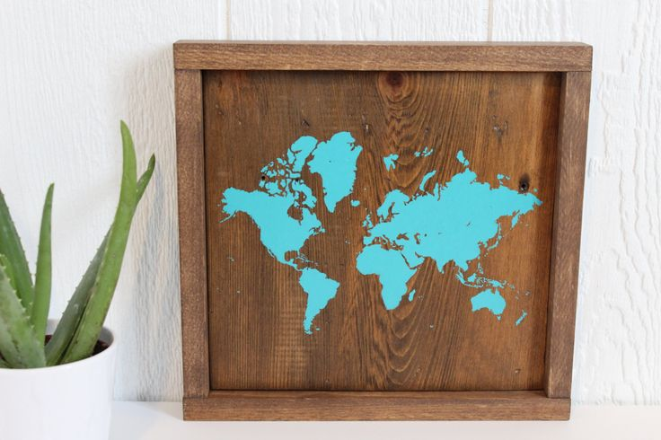 Travel Map, Rustic Home Decor, Rustic World Map, Map on Wood, World Map, Wooden World Map, Wooden Wall Décor, Nursery, Gallery Wall Hanging by TealBlueStudio on Etsy