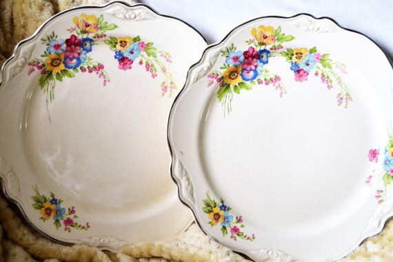 FLORAL Homer Laughlin Plates Set of Two Virginia by MyDadsParadise