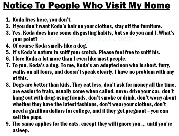 Notice To People Who Visit My Home