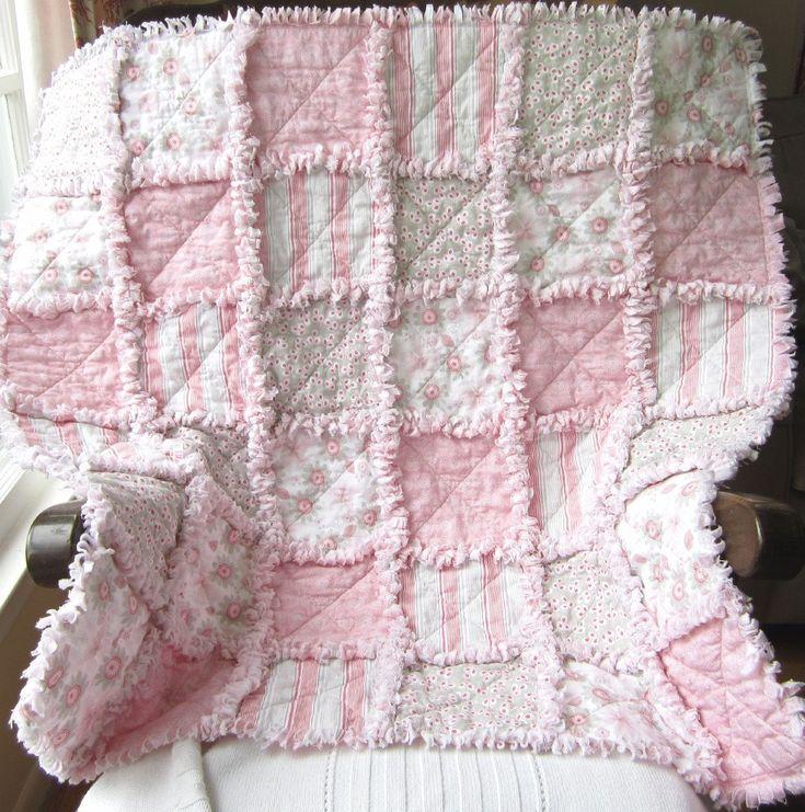 Baby Girl Quilt  Pink Gray Modern Flowers Rag Quilt. $91.00, via Etsy.