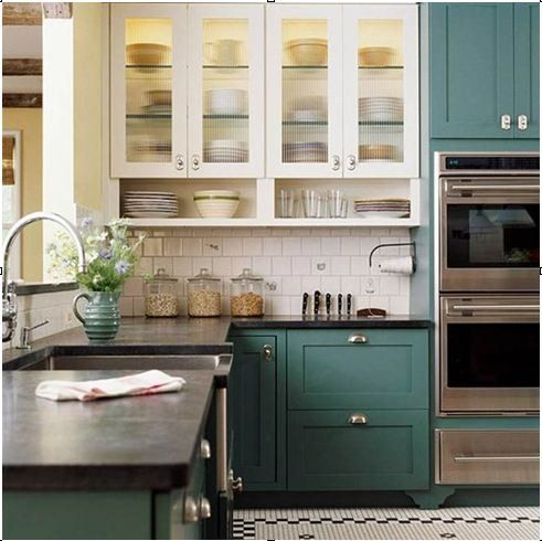 bhg teal kitchen - love the dark counters, colour on the bottom cabinets but white upper cabinets