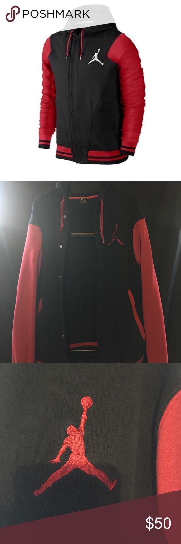 Red and black Michael Jordan varsity jacket hoodie A Large red and black hoodie no flaws like brand new... price negotiable😎👌🏾 Jordan Jackets & Coats Bomber & Varsity