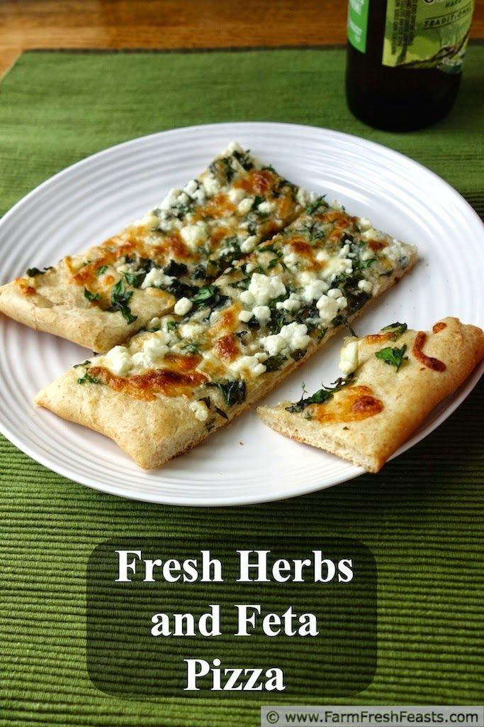 Fresh Herb Pizza on Tender/Crisp Pizza Crust | Farm Fresh Feasts http://www.farmfreshfeasts.com/2014/05/fresh-herb-pizza-on-tendercrunchy-pizza.html