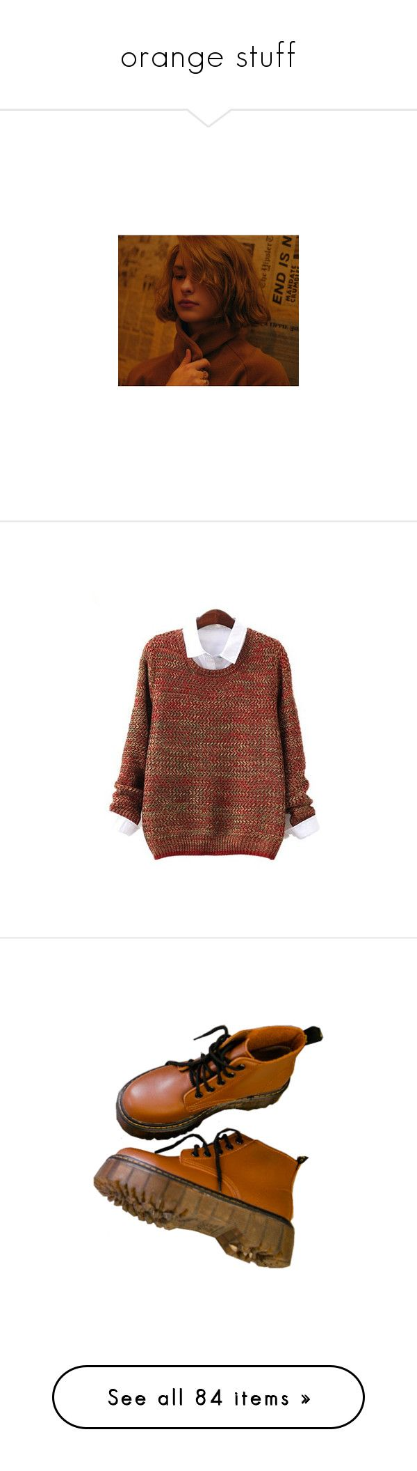 """orange stuff"" by gaaaaalaxy ❤ liked on Polyvore featuring pictures, tops, sweaters, brown top, loose fit sweater, loose sweaters, loose fit tops, brown knit sweater, shoes and boots"