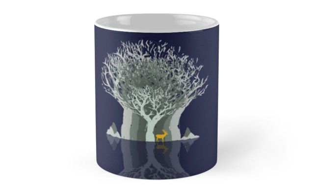 Frozen Reflection - Evening by jollybirddesign #frozen #reflection #tree #stag #illustration #blue #mug