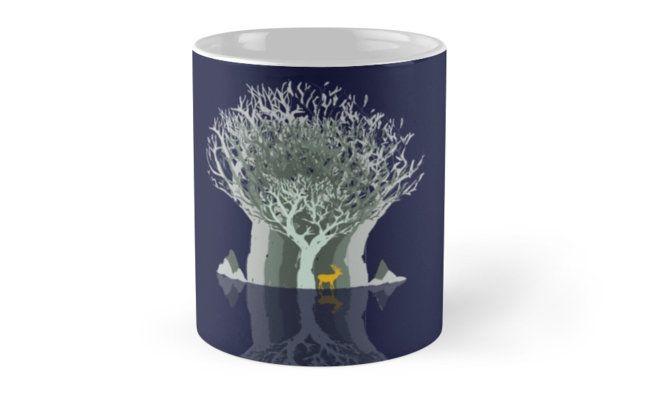 Frozen Reflection - Evening by jollybirddesign #frozen #reflection #tree #stag #illustration #blue #mug