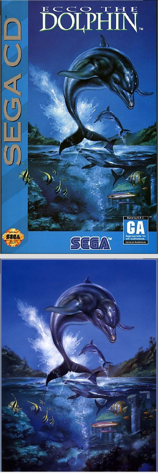 BORIS VALLEJO - Ecco the Dolphin - SEGA Video Game - 1992 - cover by mobygames - print by tumblr