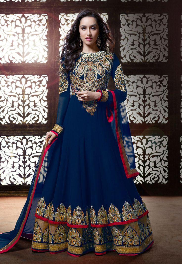 Dark Blue Faux Georgette Double layered Abaya Style Churidar kameez: KCR7054
