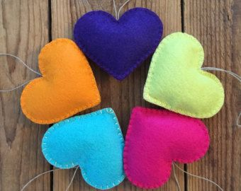 Pink Felt Heart Ornaments set of 5 by GeorgeNRuby on Etsy