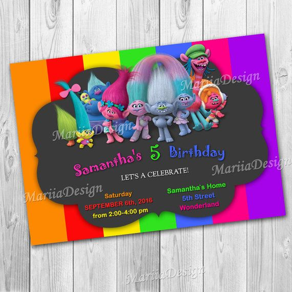 Hey, I found this really awesome Etsy listing at https://www.etsy.com/listing/471949605/trolls-invitation-trolls-birthday-party