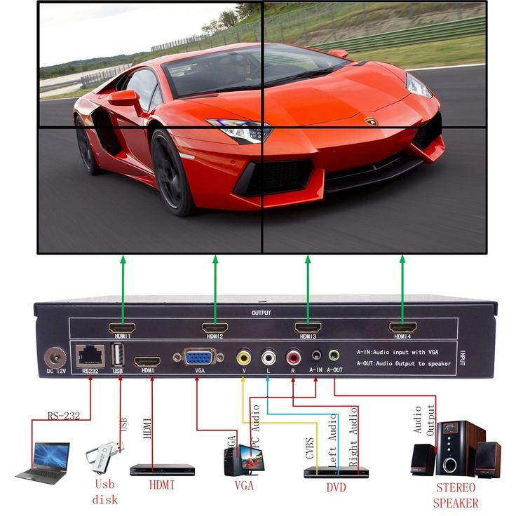 384.00$  Watch here - http://alivwa.worldwells.pw/go.php?t=32738060798 - Video Wall Processor TV LCD Monitor Wall Controller Multi Input HDMI Ouput Screen segmentation & reassembly 2x2, 1x2, 1x3, 1x4