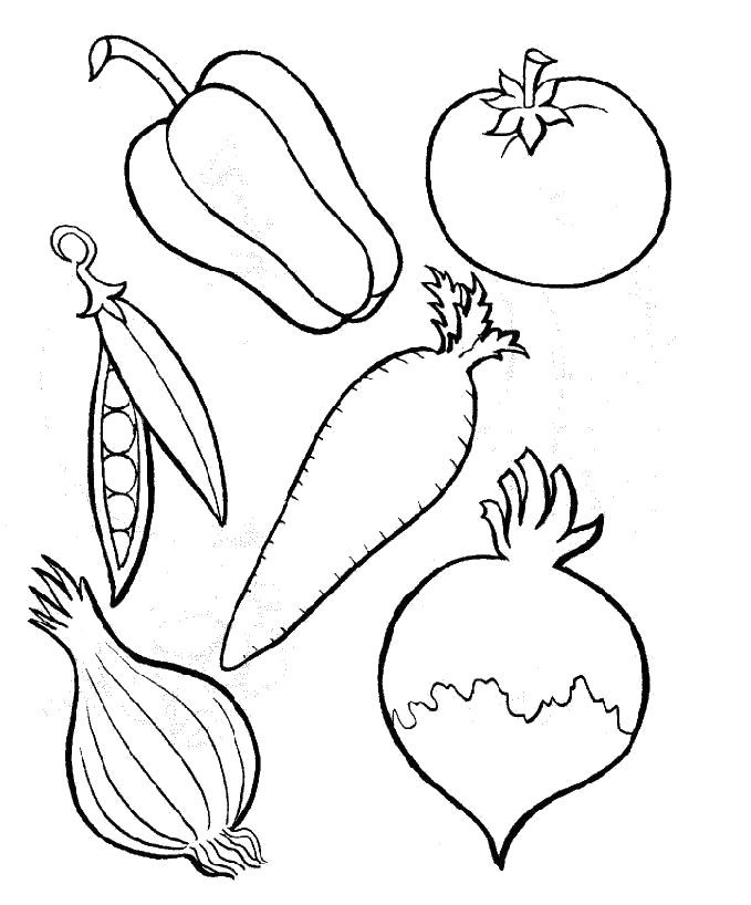 Six Kinds Of Perfect Food Vegetables Coloring Pages