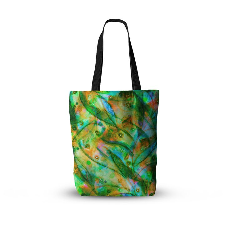 "Ebi Emporium ""Flourish - Green"" Emerald Floral Everything Tote Bag"