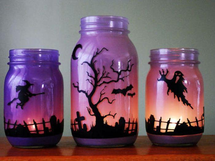 Lila Einmachglaser Deko Fur Halloween Einen Friedhof Mit Ungeheuern Einmachglaser Basteleien Basteln Halloween Halloween Glaser