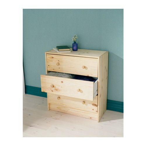 RAST Commode 3 tiroirs, pin 62x70 cm pin