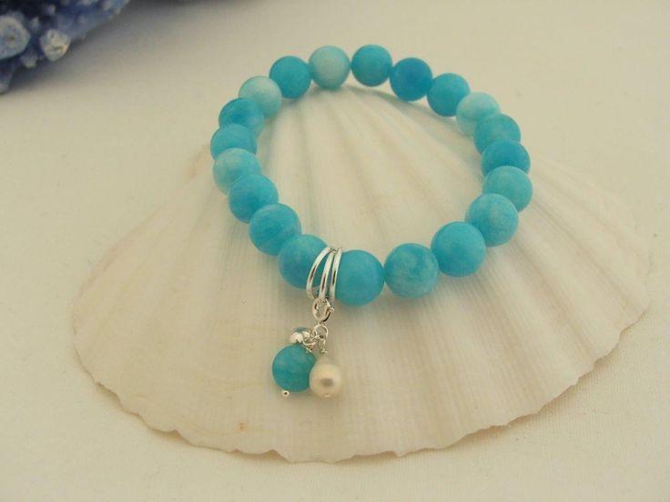 Sky Blue Quartzite Gemstone Stretch Bracelet/3 Clip on charms Sterling Silver | eBay