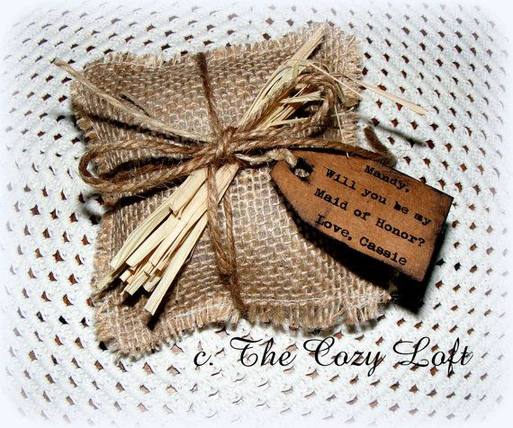 Rustic Country Burlap Wedding Will you be my Bridesmaid Flower Girl Maid Matron of Honor Personalized Lavender Barn Sachet Pillow Gift