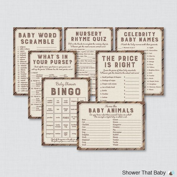 Lovely Rustic Child Bathe Video games Package deal - Seven Printable Video games: Bingo, Worth is Proper, Purse Recreation, Nursery Rhyme - Rustic Wooden Burlap Child 0034