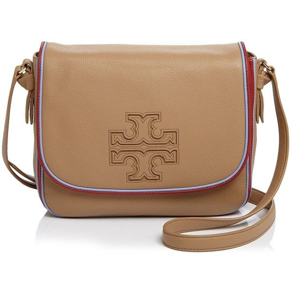 Tory Burch Harper Stripe Messenger ($475) ❤ liked on Polyvore featuring bags, messenger bags, vintage camel, camel bag, beige leather bag, stripe messenger bag and striped bag