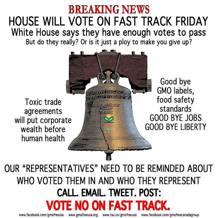 We especially need to put the pressure on Nancy Pelosi, Steny Hoyer, Kathleen Rice, Ed Perlmutter and Seth Moulton. If you are represented by them, call & email and tell them NO on Fast Track:  Nancy Pelosi (CA-12) Tel: 202-225-4965 Email: http://pelosi.house.gov/contact-me/email-me  Steny Hoyer (MD-05) Tel: 202-225-4131 Email: https://hoyer.house.gov/email-steny  Kathleen Rice (NY-04) Tel: 202-225-5516 Email: https://kathleenrice.house.gov/contact/  Ed Perlmutter (CO-07) Tel: 202-225-2645…