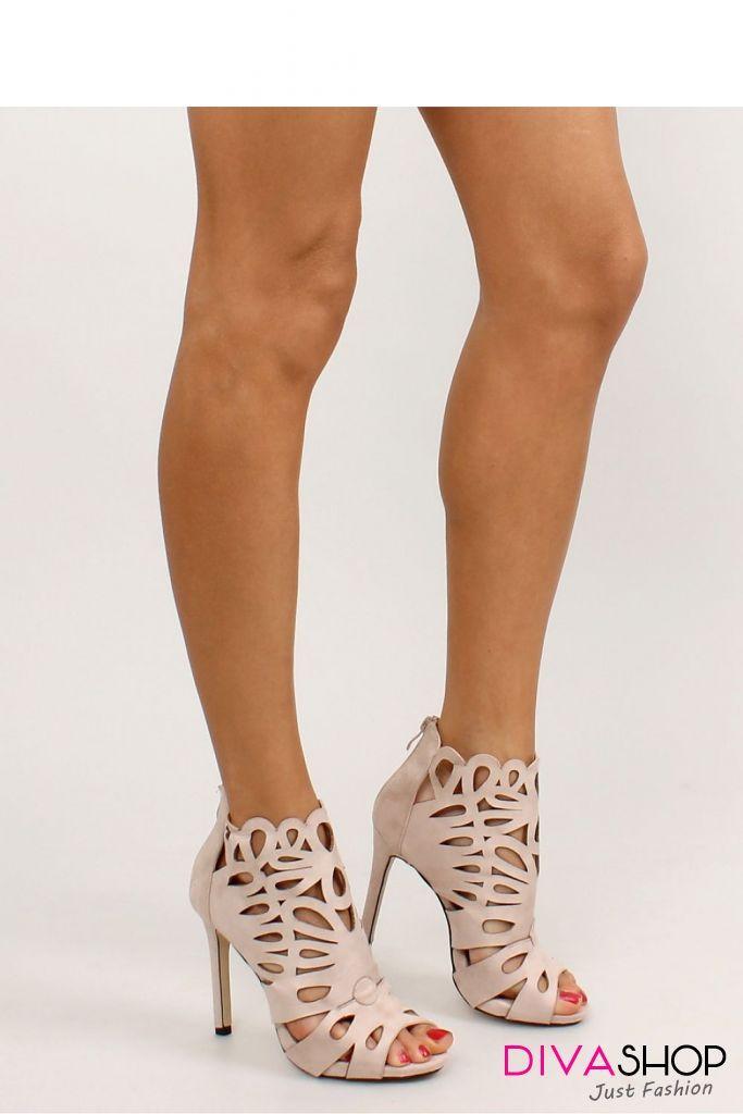 1a205ed894d0b1 Sandale dama elegante cu perforatii decorative - Inello - 246 Lei - Sandale  dama confectionate din