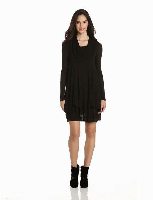 black shift dress: Long Sleeve Black Shift Dress