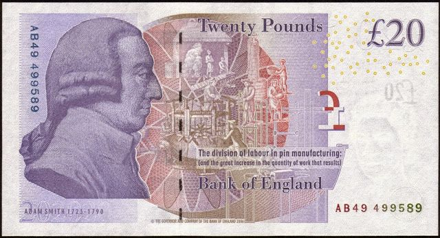 British Banknotes‎ 20 Pound Sterling note 2007 Adam Smith Bank of England