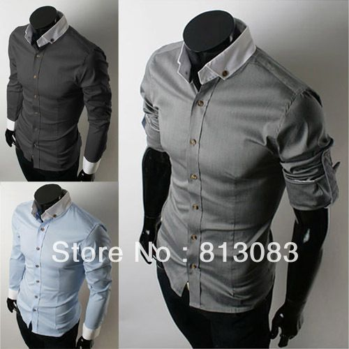 Hot Selling Fashion Korean Mens Slim Shirt Casual Shirts Stand Up Collar Adjustable Sleeve 4 Sizes 3 Colors  # YS995804 US $15.80