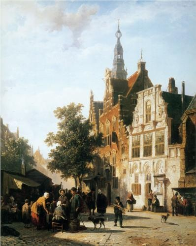 Marketview with cityhall Woerden - Cornelis Springer