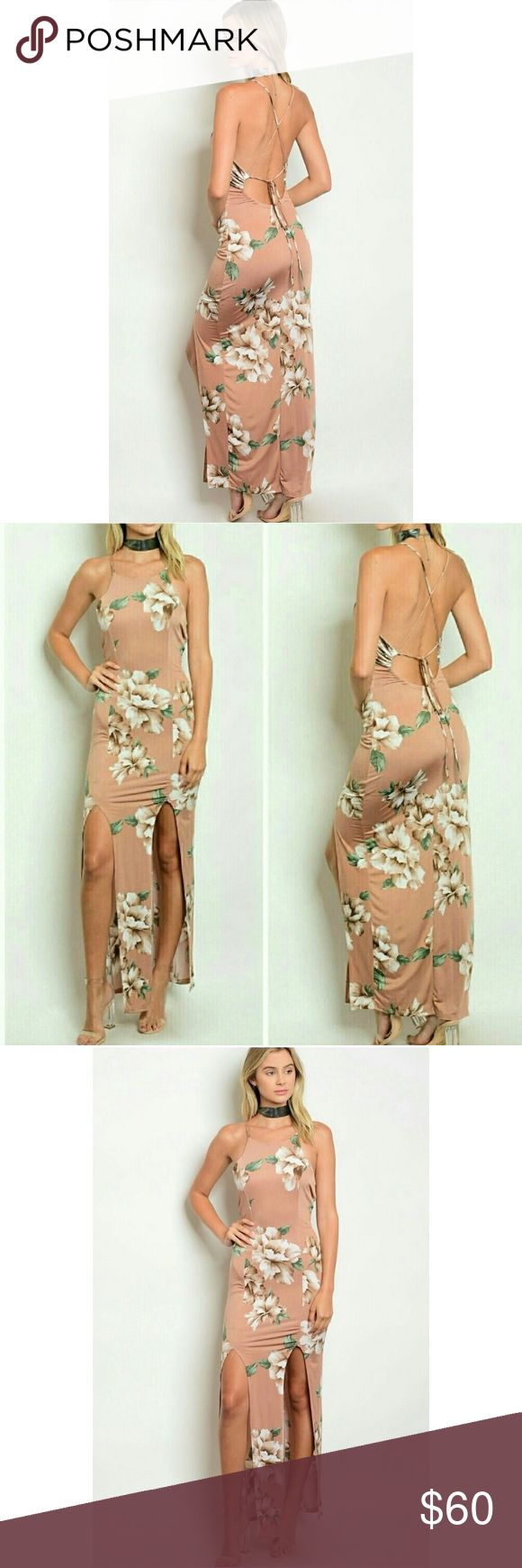 Double Slit Maxi Dress Absolutely beautiful Maxi dress with a double slit in the front and ties in the back, gives a great open back look!! Great to wear out on hot days ❤️ Threadzwear Dresses Maxi