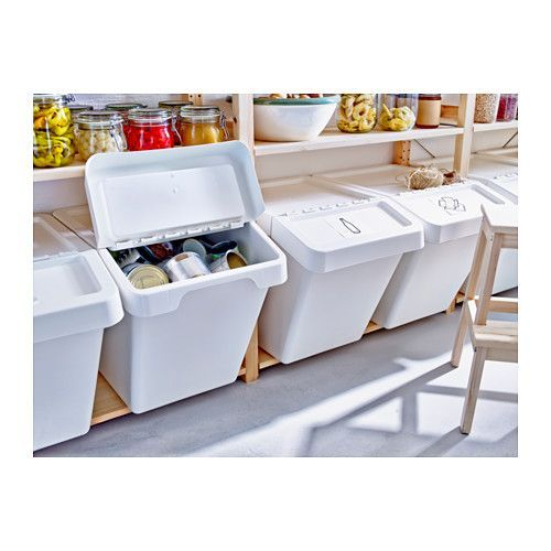 IKEA's SORTERA Recycling bin with lid - 16 gallon & 10 gallon ($10-$13) --- these would be great in a pantry or laundry room, once we get our own house.