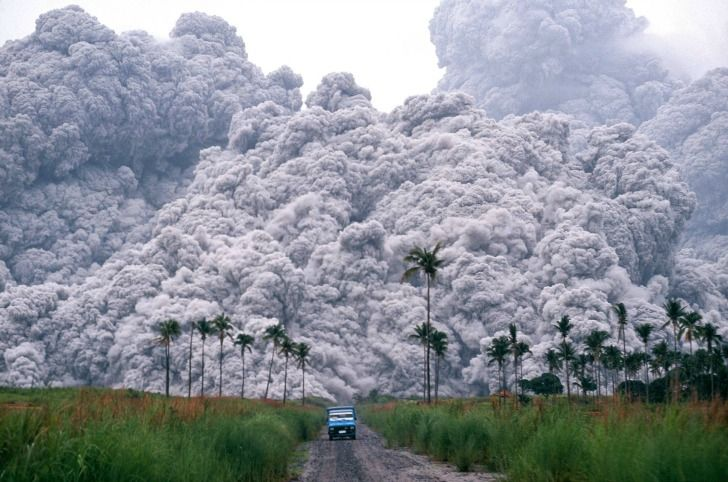 On June 17, 1991, Mount Pinutabo in the Philippines, erupted. It released massive quantities of pyroclastic flow, which is seen behind the truck in this image. Pyroclastic flow can move at speeds exceeding 600 mph.