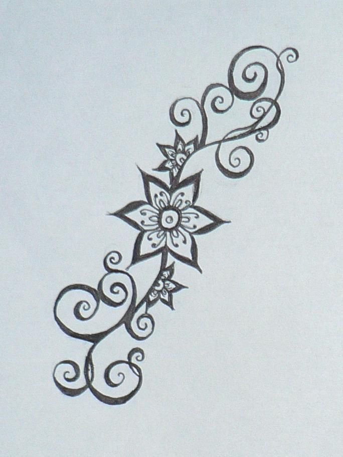 Simple Henna Flower Designs | Smaller Henna Flower Design by Beffychan