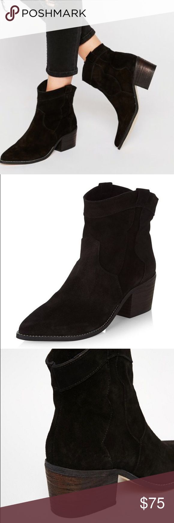 NWT Western booties New with tags! New Look Premium Leather Western Booties in black-brown suede. Look great with skinny jeans and midi dresses. Originally purchased from ASOS. No trades. New Look Shoes Ankle Boots & Booties