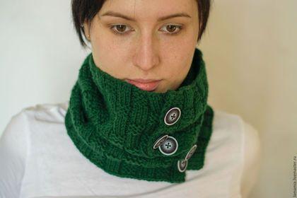 Шарфы и шарфики ручной работы. Заказать Снуд-воротник на пуговицах. LAMA MIA丨Вязание на заказ. Ярмарка Мастеров. Снуд шарф хомут