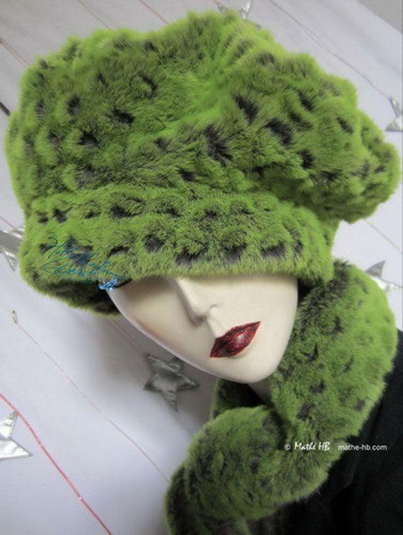 chapeau hiver sur commande vert flash et gris écailles caïman