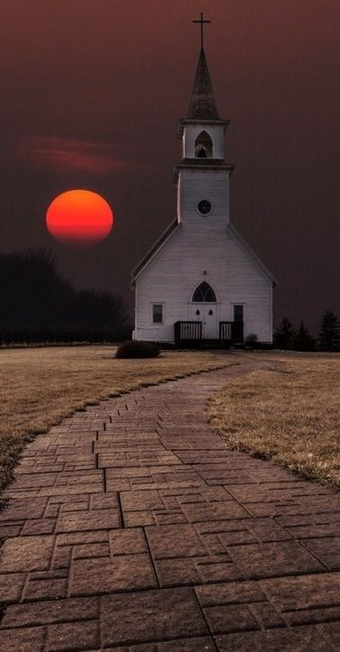 an old church and a sunset....