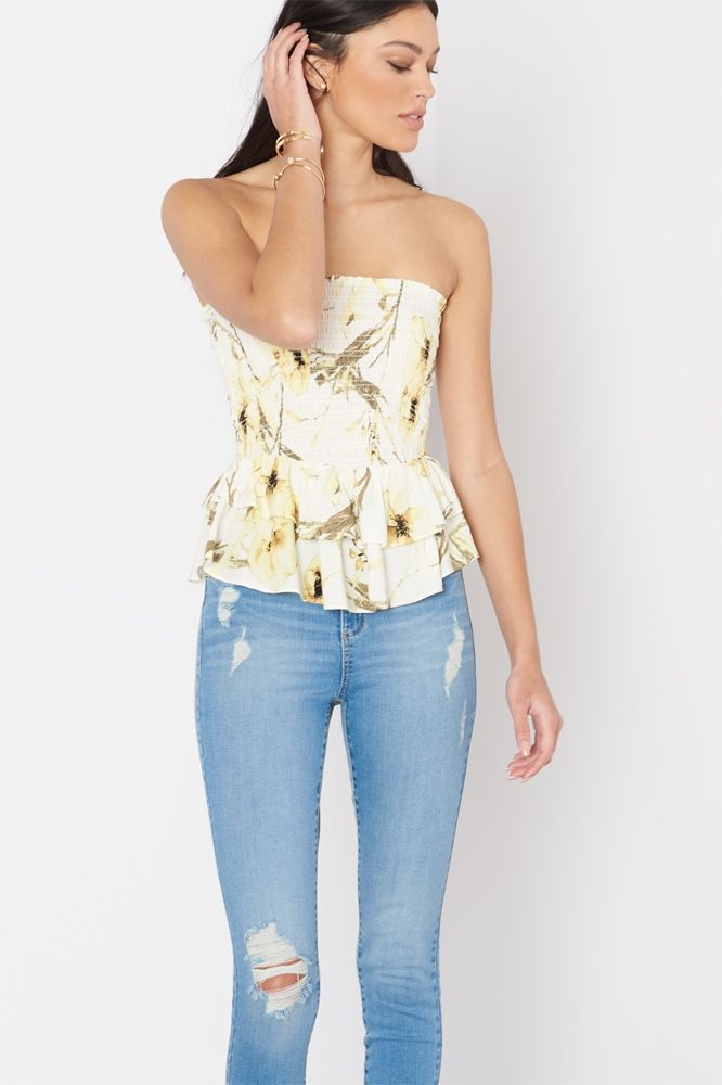 Your breezy bohemian wardrobe wouldn't be complete without a hot strapless top.